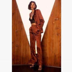 Satin brown blazer